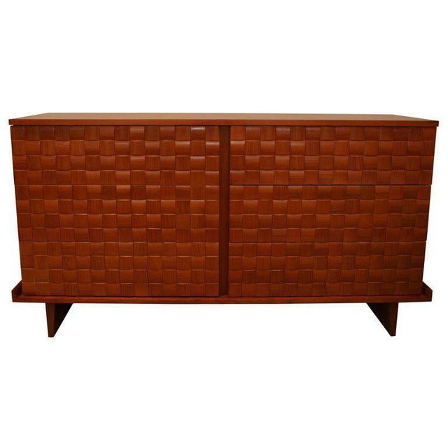 Elegant double dresser by laszlo for brown saltman. Each square is individually cut and applied to the drawers faces to...