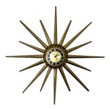 Image of Mid Century United Brass Starburst Wall Clock For Sale