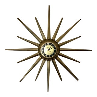 Mid Century United Brass Starburst Wall Clock For Sale