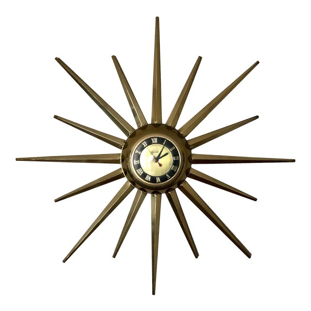 Mid Century United Brass Starburst Wall Clock For Sale