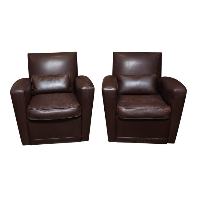 Holly Hunt Brown Leather Swivel Chairs - Image 1 of 11