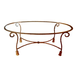 1990s Hollywood Regency Gold Rope Coffee or Cocktail Table For Sale