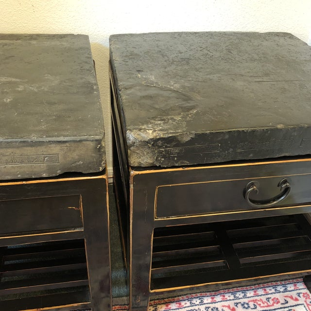 Antique Chinese Stone Top Side Tables - a Pair For Sale - Image 4 of 13
