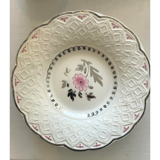 Pink Vintage Wedgwood of Etruria and Barlaston Fine Bone China Pink & Silver Lustre Scalloped Edge Plates - Set of 7 For Sale - Image 8 of 13