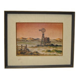 "Forrest Hibbits ""California Country Farm"" Oil Painting C.1970 For Sale"