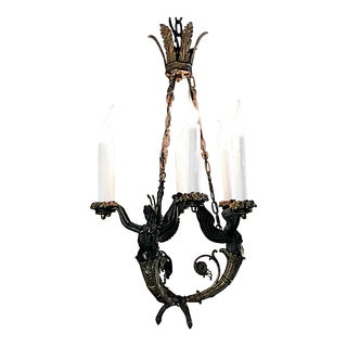 19th Century French Empire Bronze Chandelier For Sale