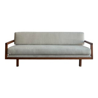 1960s Solid Walnut Open Frame Sofa For Sale