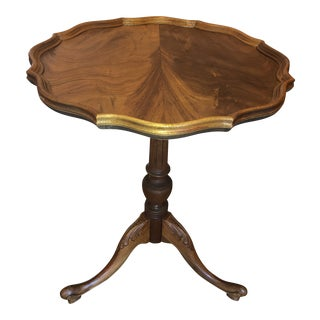 Vintage Walnut Pedistal Wine Table For Sale