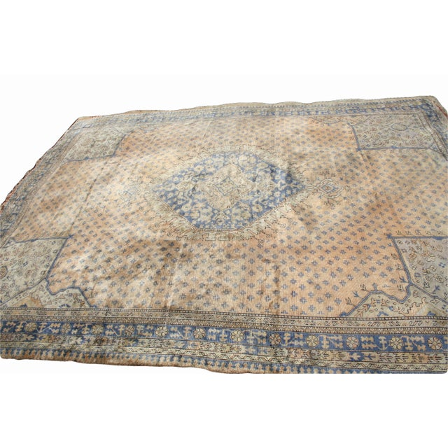 Early 20th Century Antique Oushak Waterloo Design Rug - 11′9″ × 15′5″ For Sale - Image 6 of 13