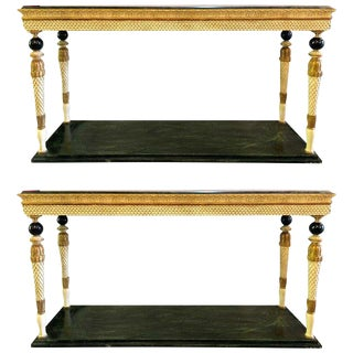 Pair of Neoclassical Style Marble Top Consoles Attributed to Maison Jansen