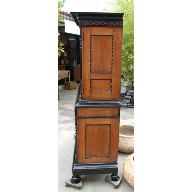 19th c. British Colonial Satin/Ebony 4 Door Cabinet with Carved Moldings - Image 4 of 8