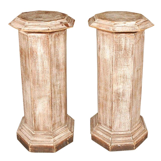 Pair of Octagonal Beveled Top Columnar Plinths From 19th Century England For Sale