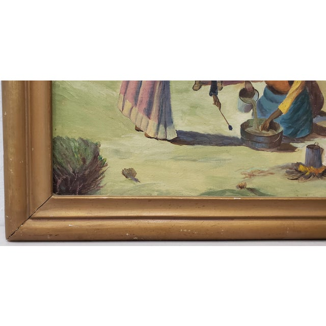 "1940s Vintage American West Oil Painting ""Lunch Time"" by William Metter C.1940s For Sale - Image 5 of 11"