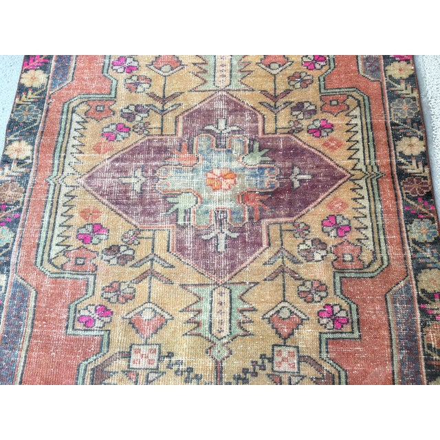 Coffee 1970s Vintage Turkish Anatolian Hand-knotted Oushak Rug- 4′3″ × 8′ For Sale - Image 8 of 9