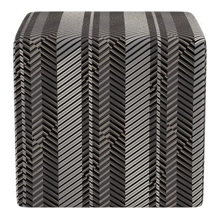 Cube Ottoman in PS1 Herringbone For Sale