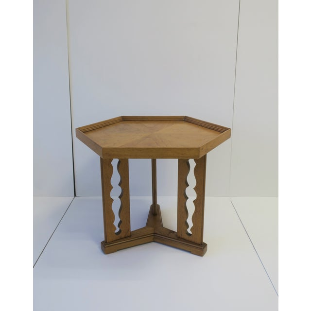 Drexel Hexagon Wood Side or End Table Esperanto by Drexel For Sale - Image 4 of 13