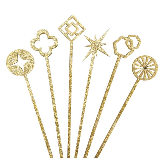 Geometric Gold Glitter Drink Stirrers - Set of 6 - Image 1 of 4