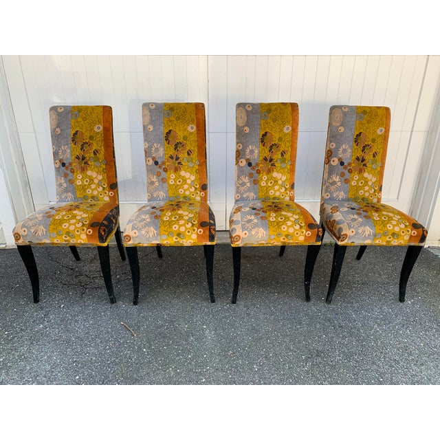 Jack Lenor Larsen Velvet Dining Chairs - Set of 4 For Sale - Image 9 of 12