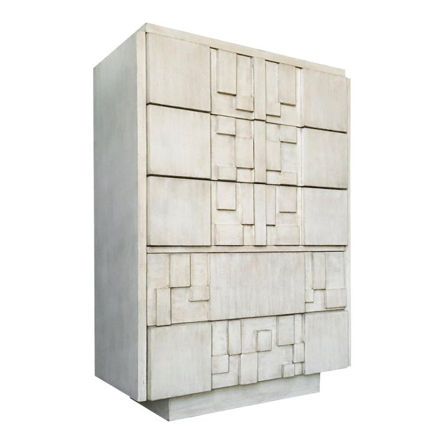 Brutalist White Finish Tall Cabinet or Chest by Lane For Sale