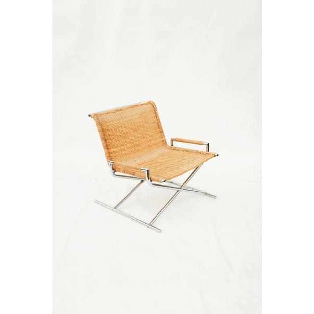 Brickel Associates Ward Bennett Wicker Sled Lounge Chair for Brickel Associates For Sale - Image 4 of 10