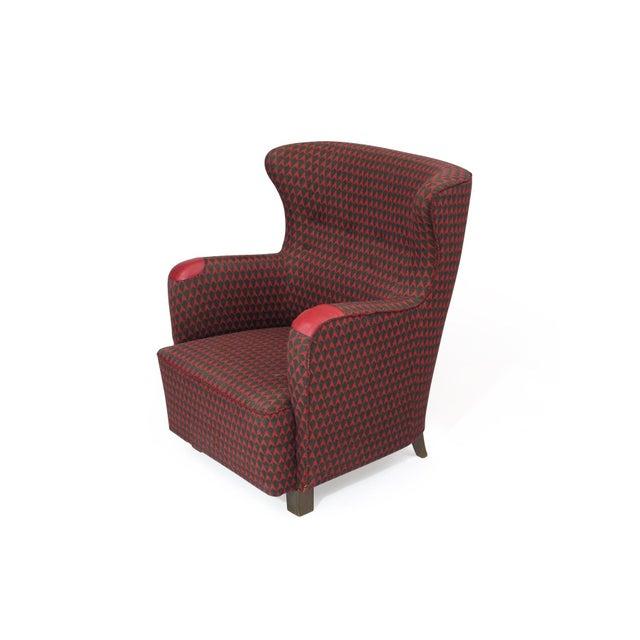 Danish Modern 1937 A.J. Iversen for Kaj Gottlob Deco Lounge Chair Original Fabric For Sale - Image 3 of 9