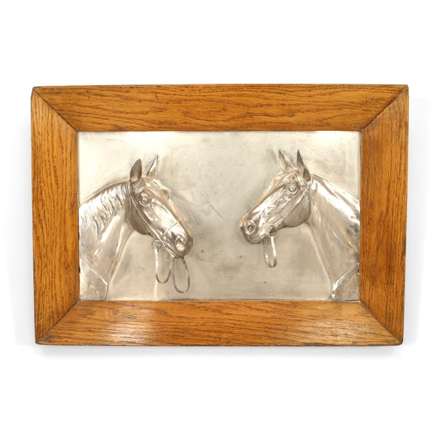 Pair of English Victorian Country style silver plate wall plaques of horse heads in oak frame. (19/20th Cent)