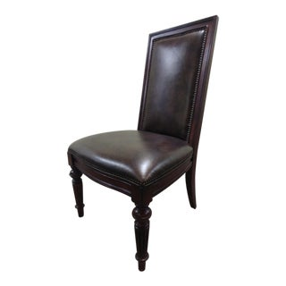 Modern Thomasville Furniture Fredericksburg Whiskey Mahogany Leather Upholstered Chair For Sale
