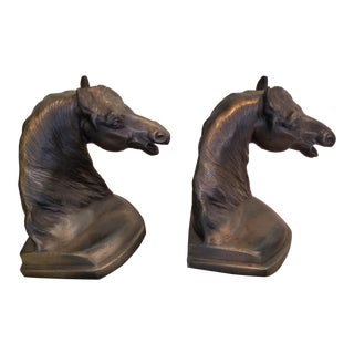 Vintage Brass Horse Bookends - a Pair For Sale