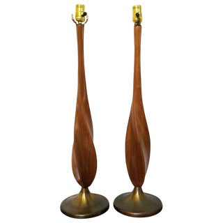 Mid-Century Modern Twisted Walnut Table Lamps - A Pair
