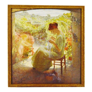 Vintage Print of a Woman Sewing For Sale