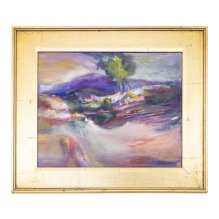 Vintage Landscape Oil Painting With Gold Frame and Rainbow Palette For Sale