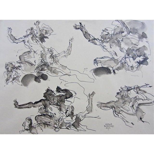 Serge Ivanhoff Figural Studies, 1949 Ink Drawing - Image 6 of 6