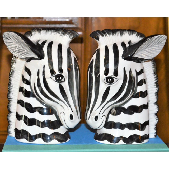 1970s Boho Chic Fitz & Floyd Porcelain Zebra Bookends - a Pair For Sale - Image 10 of 10