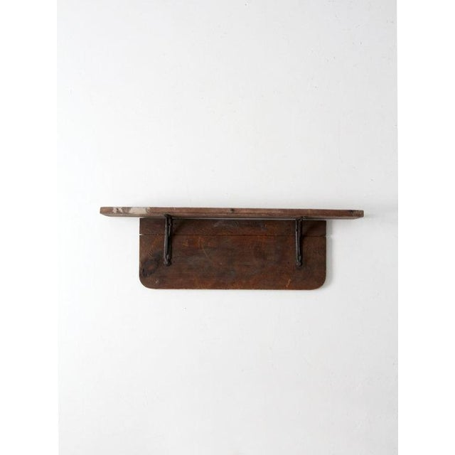 Antique Rustic Wood & Iron Shelf - Image 2 of 6