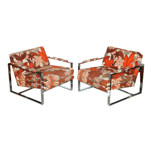 A Pair of Milo Baughman Polished Chrome Club Chairs For Sale