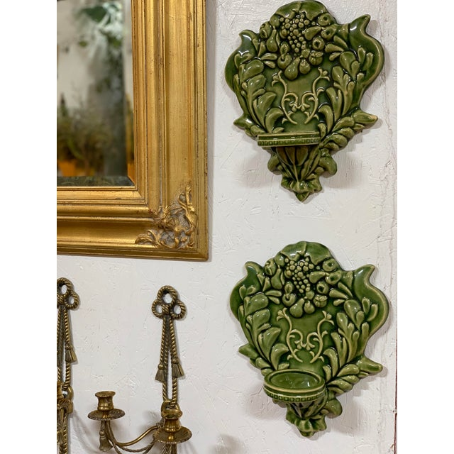 Green Majolica Fruit Wall Pockets - a Pair For Sale - Image 12 of 13