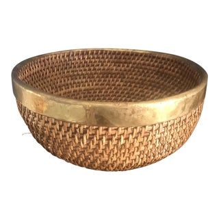 Woven Circle Basket With Brass Trim