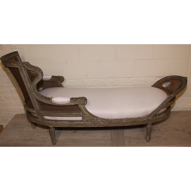Caning 1850 Antique French Caned Chaise Lounge For Sale - Image 7 of 9