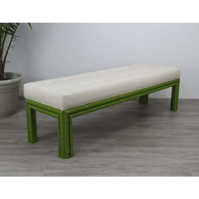 1960s Mid-Century Apple Green Faux Bamboo Bench For Sale - Image 5 of 9