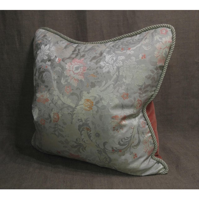 French Provincial Vintage Silk Floral Damask Fragment Throw Pillow For Sale - Image 3 of 6