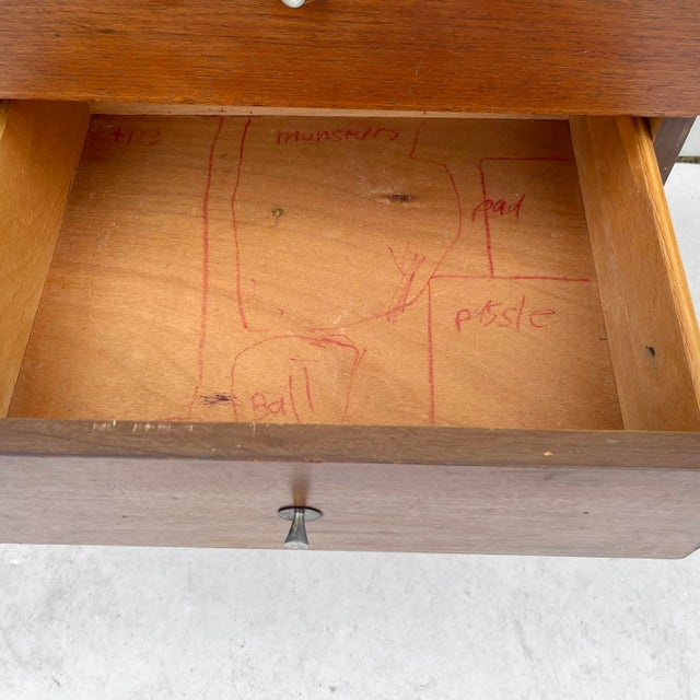 Brown 1960s Wood Mid-Century Modern Writing Desk For Sale - Image 8 of 13