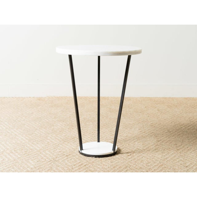 2010s Modern Patrice White Marble Top Side Table For Sale - Image 5 of 5