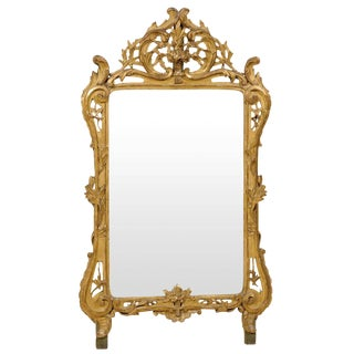 French Mid-19th Century Richly Carved Gilded Wood Mirror For Sale