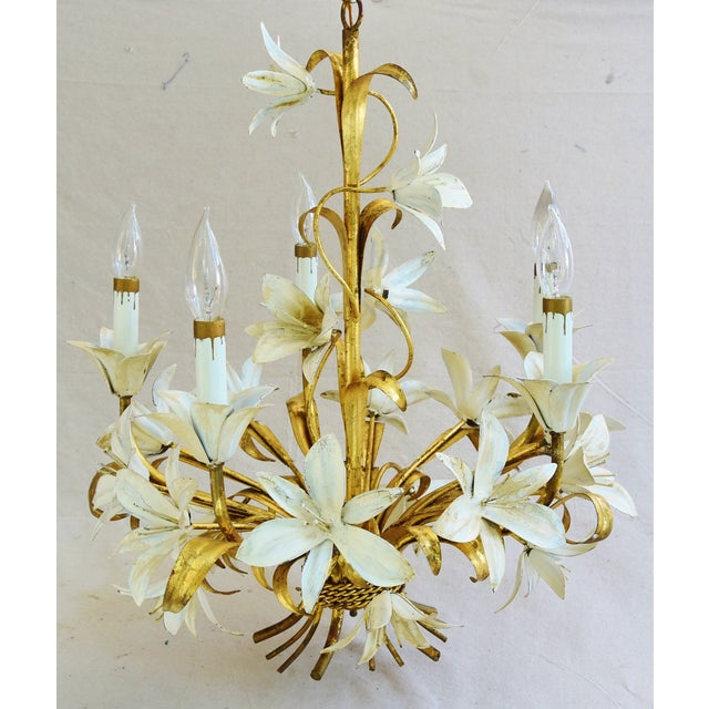 Vintage Italian gold gilt tole five-arm/light chandelier with ornate scrolling leaves, scalloped bobeches, lily flowers...