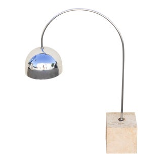Guzzini Chrome Arc Table Lamp With Travertine Base For Sale