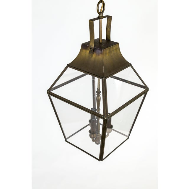 Vintage Geometric Brass Finished Lantern Pendant Light For Sale In San Francisco - Image 6 of 13