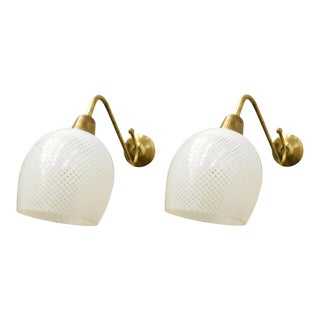 Pair of Original Vintage Italian Sconces W/ Clear and White Murano Glasses Designed by Barovier E Toso, Circa 1960s For Sale