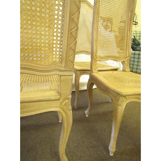 Brown Baker Tall Back Cane & Carved Wood Dining Chairs - Set of 4 For Sale - Image 8 of 8
