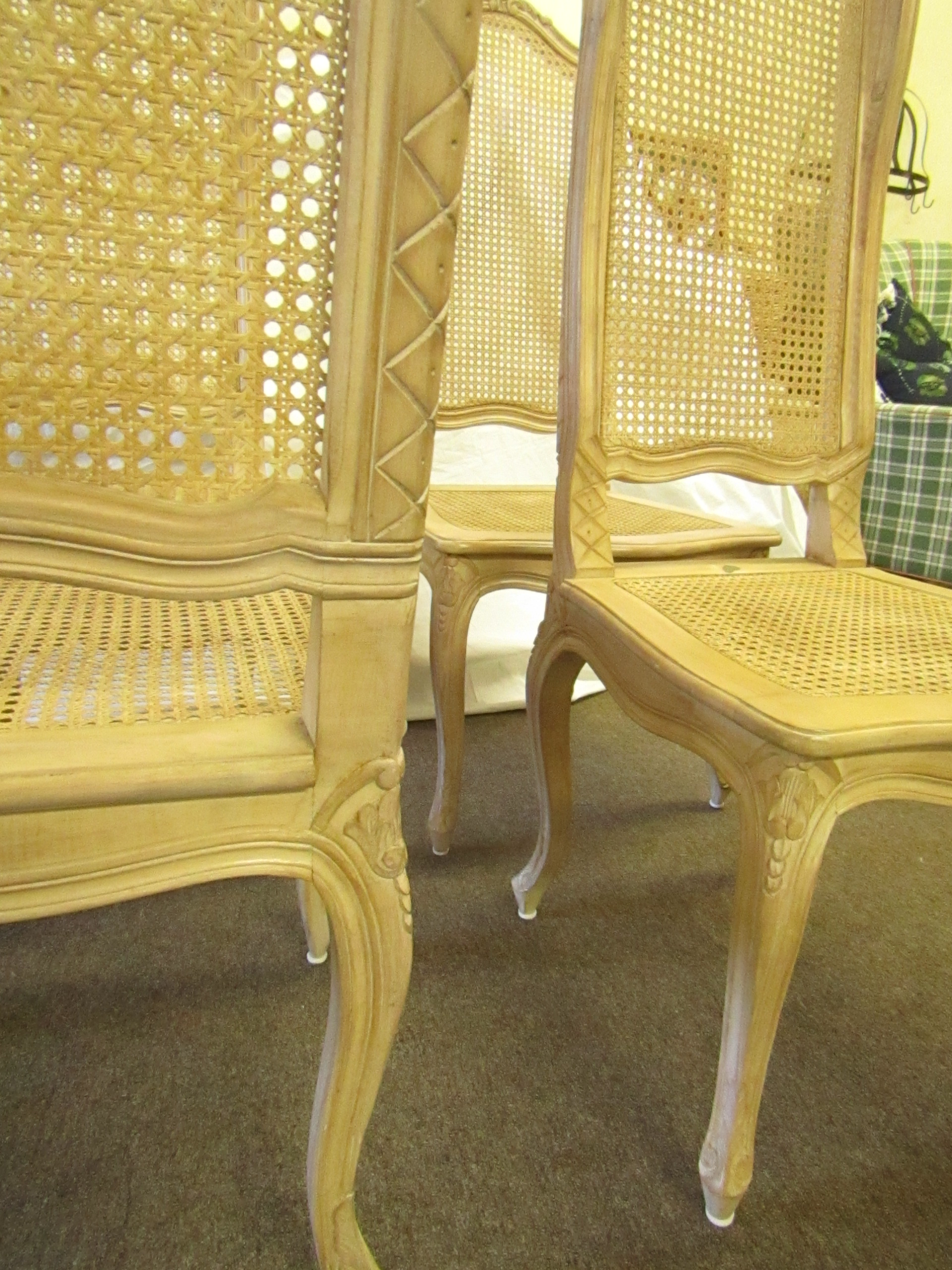 Baker Tall Back Cane U0026 Carved Wood Dining Chairs   Set Of 4   Image 8