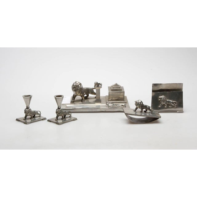 Writing, seven parts set in pewter by Ernst Svedbom (1913-2004), Goldsmith AB for Swedish Tenn, circa 1934-1936. Marked:...
